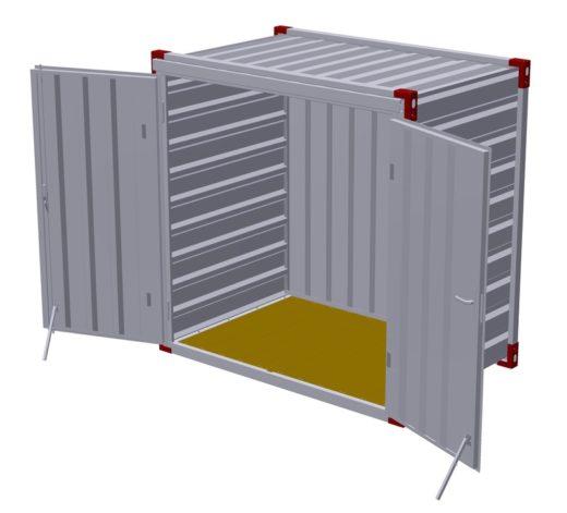 Kontejner 1375 x 2200 mm s dřevěnou podlahou – dvoukřídlé dveře v čelní stěně 2
